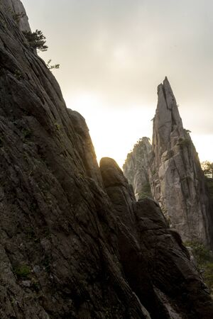 Landscape scenic spot of Huangshan (Yellow Mountains). A mountain range in southern Anhui province in eastern . It is a    Site.