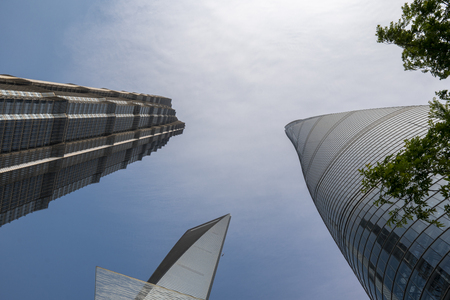 Shanghai, China - May 8 2019 : Shanghai Tower, world Financial Center and Jin Mao Tower in Shanghai. The modern building of the lujiazui. These are the tallest buildings in Shanghai. 報道画像