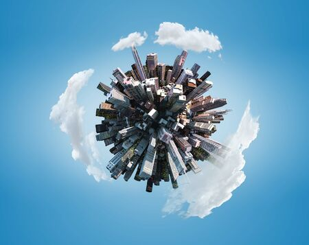 Miniature city planet on blue sky background