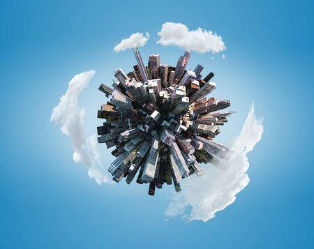 Planeta ciudad en miniatura sobre fondo de cielo azul