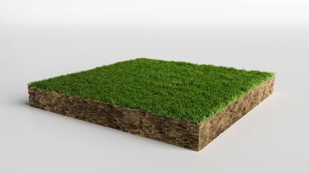 Square of green grass field over white background, 3D Illustration Stock Photo