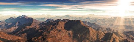 Sunset of panorama spectacular aerial view of mountains with sun ray