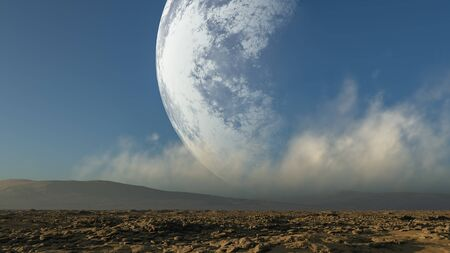 3d rendered Space with big moon on sky