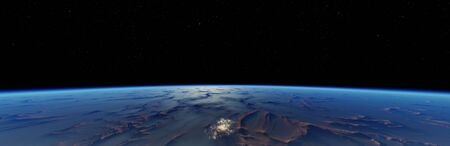 3d rendered Earth and stars. Beautiful earth from space