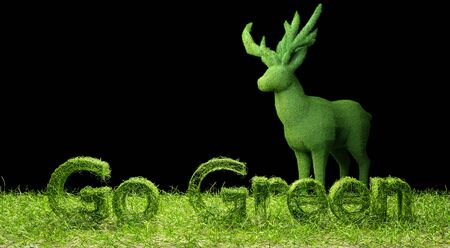 3D Go Green letter on green field and grass deer  isolated black background