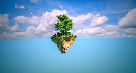 Forest trees in the island floating in the blue sky with clouds