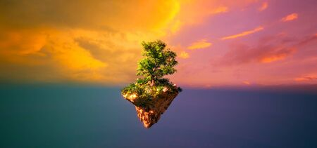 Fantasy floating island with forest isolated sunset sky view 3D illustration