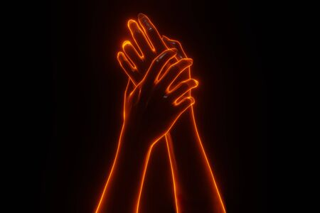 Front view close up hand holding hand with 3D light fire glowing Imagens