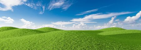 Green grass field on small hills with blue sky and clouds. 3D rendering. 写真素材