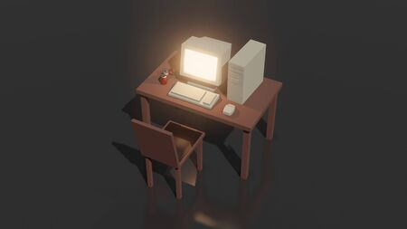 Simple mock up composition with old computer on office table and chair 3d rendering.
