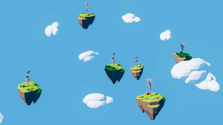 Few floating island with direction indicator made with 3d rendering