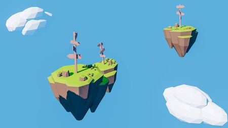 3D rendering of direction signs indicator on floating island