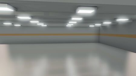 Wide room, an empty factory interior background, 3d rendering illustration
