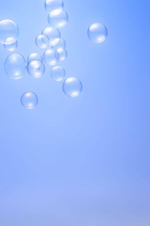 Soap bubbles isolated on blue background