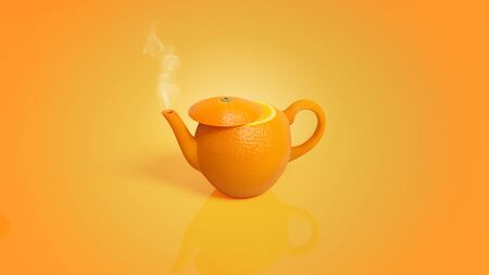 Teapot of Orange skin isolated on orange color background. Concept of juice with fresh fruits .Orange kettle. Making tea for tea time.