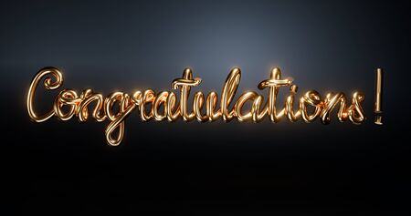 Congratulations Hand lettering Gold alphabetic fonts , Modern brush calligraphy. 3d word