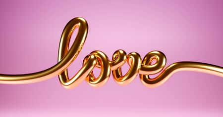 3d Love gold hand drawn brush calligraphy. in pink background