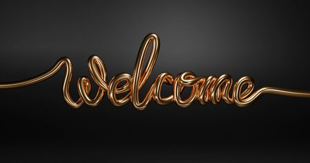 Welcome gold golden word texture text, 3d word. 版權商用圖片