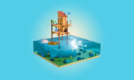 3d Cartoon wooden sea shack on the sea, with flag and wood boat. transparent sea-trough view, can see fish in the sea