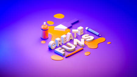 3d Typography, text word with Stay Creative concept