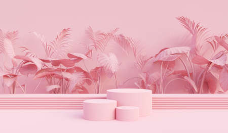 Background vector 3d pink rendering with podium and minimal pink stage, minimal podium product background 3d rendering geometric shape pink pastel. Stage for product in backgrounds light studio