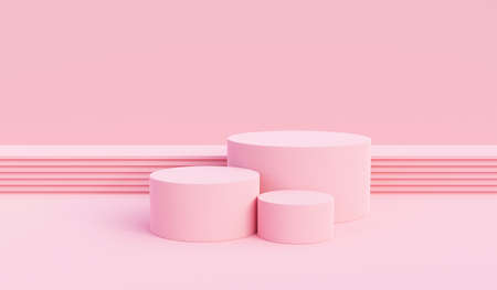 Background vector 3d pink rendering with podium and pedestal pink scene, minimal scene background 3d rendering product pedestal pink pastel scene. Stage 3d for product pedestal in pink platform studio