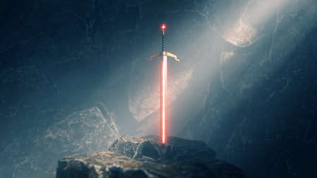 sword in the stone with light rays and dust specs in a dark cave
