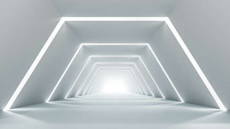 Illuminated empty corridor interior design