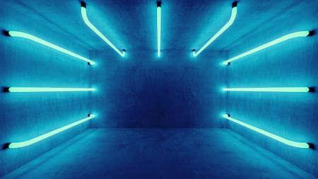 Futuristic architecture background. Box with concrete wall. Abstract blue room interior with blue neon lamps.