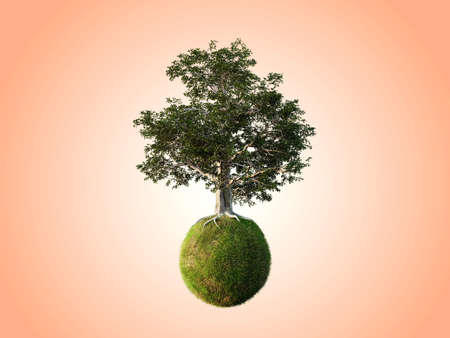 Beautiful trees isolated conceptual mini floating globe with diversity in natural landscapes and environments