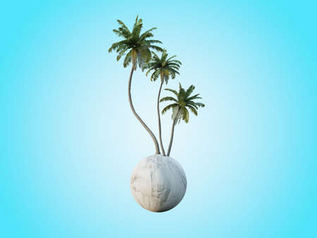Beautiful coconut palm trees isolated conceptual mini floating globe with diversity in natural landscapes and environments