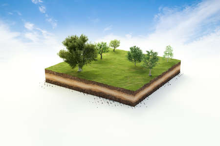 3D cubical garden grass land with trees, soil geology cross section, 3D Illustration ground ecology isolated on blue sky 版權商用圖片