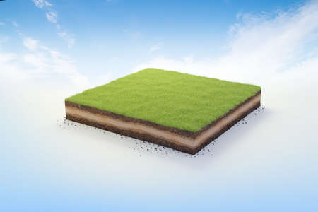 3D cubical beautiful grass land with soil geology cross section, 3D Illustration ground ecology isolated on blue sky
