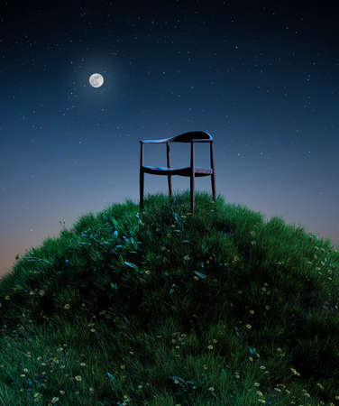 Natural moon night field of fresh grass environment, little hill meadow with wooden chair. lonely concept