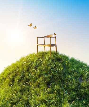 Natural morning green field of fresh grass environment, little hill meadow with butterflies flying around wooden chair. Hoping concept