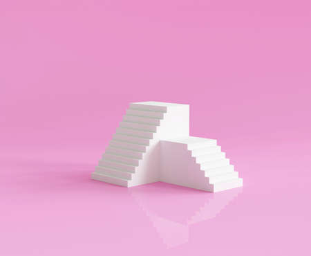 3d render pink abstract minimal stairs background