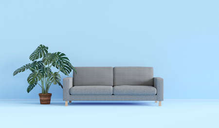 modern interior design-3D rendering with sofa and green plant