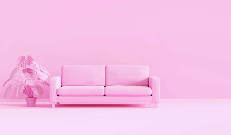 3d rendering pink monochrome space with modern sofa in living room. Minimal style concept. pastel color style