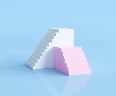 3d render abstract minimal stairs background 版權商用圖片