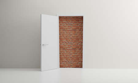 Door open to reveal red brick wall blocking the way in a modern room 版權商用圖片