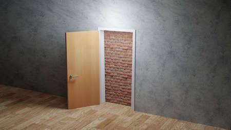 Door open to reveal red brick wall blocking the way in a dull grey room, hopeless concept