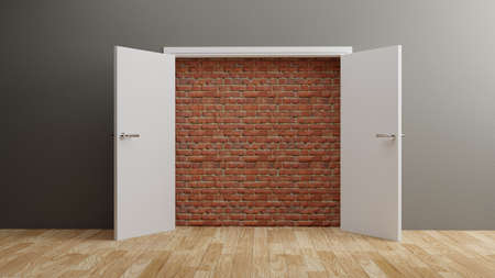 A brick wall blocking the doorway, hopeless concept