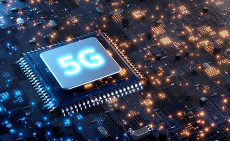 5G microchip technology background, futuristic Global 5G Mobile Networks Internet Concept