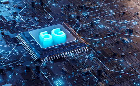 5G technology chip processor background circuit board communication technology high-speed mobile Internet, new generation networks. Business, modern technology, internet and networking concept.