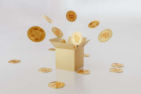 3d gold bank. Bitcoin symbol. Surprise inside open box isolated on white background abstract with golden bitcoins.
