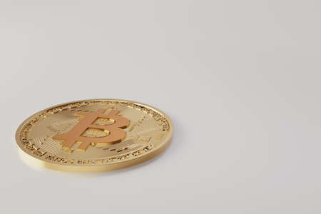 Golden coins with bitcoin symbol. bitcoin coin finance concept isolated on white background Фото со стока