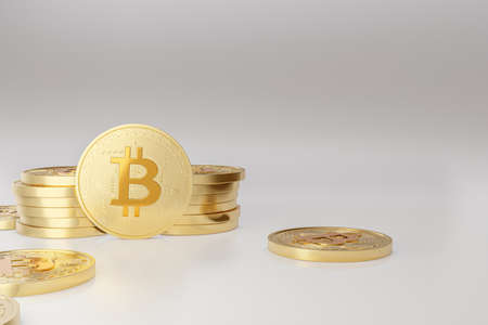 Bitcoin coins with 'bitcoin digital decentralized peer to peer' text slogan and symbol. 3D bitcoin illustration for poster. Фото со стока