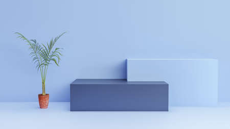 3d blue background rendering with podium and minimal pastel blue wall scene and palm leaves with potted leaves