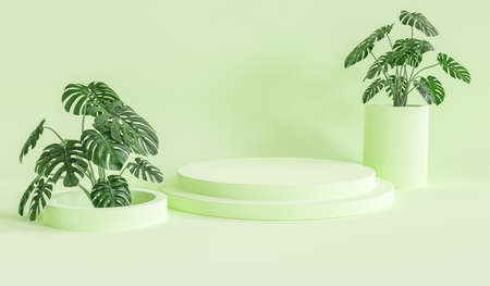 Green pedestal for display. Empty product stand with geometrical shape. minimal style. 3d render.