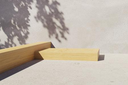 3d wooden podium display with leaf shadow Фото со стока